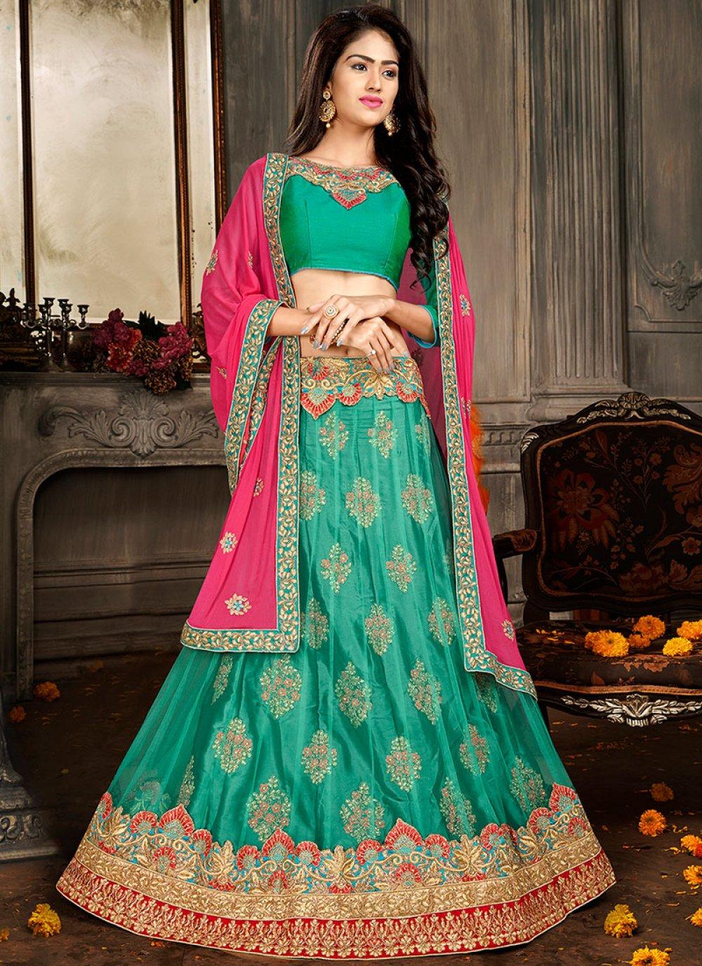 Green Art Silk A Line Lehenga Choli