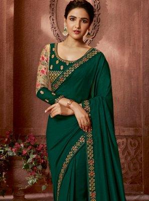 Green Art Silk Border Contemporary Saree