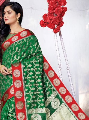 Green Art Silk Ceremonial Traditional Designer Saree