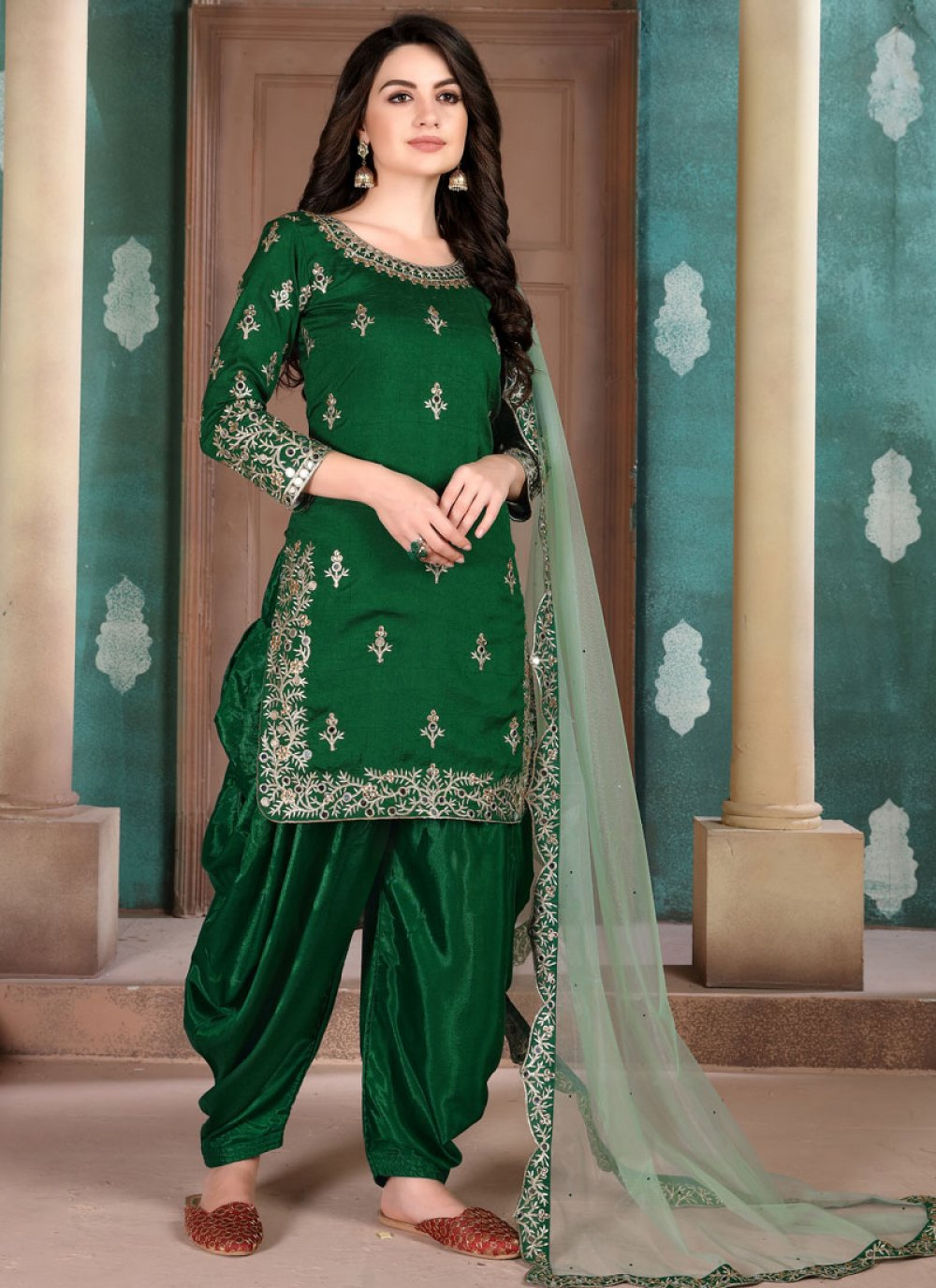 Green Art Silk Festival Designer Salwar Suit