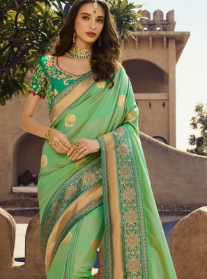 Green Art Silk Festival Traditional Designer Saree
