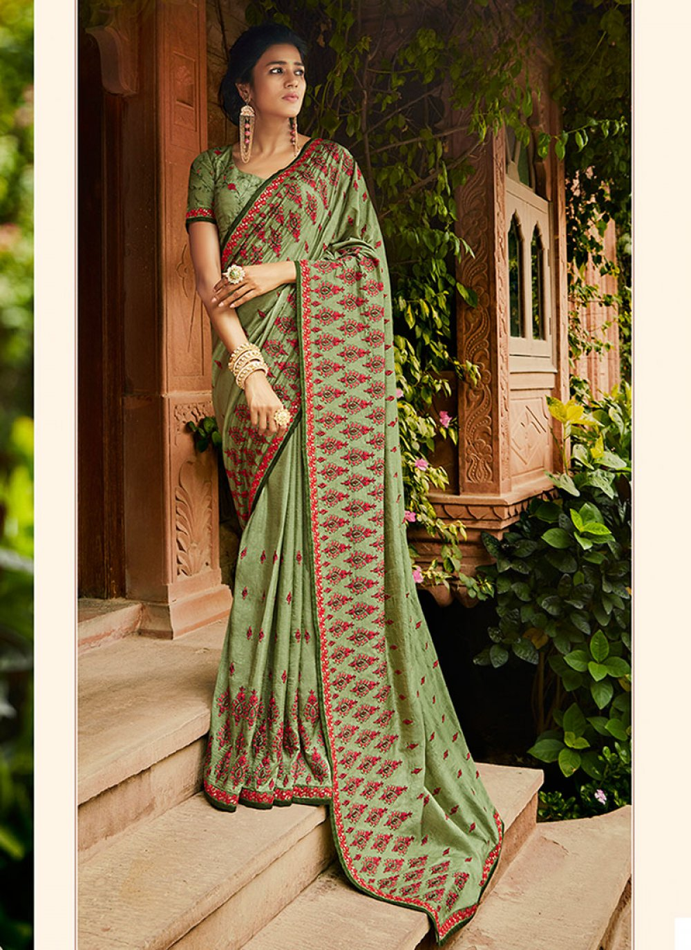 Green Art Silk Festival Traditional Designer Saree