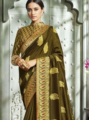 Green Art Silk Party Designer Saree