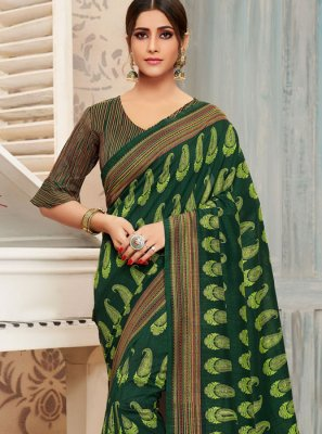 Green Art Silk Print Traditional Saree