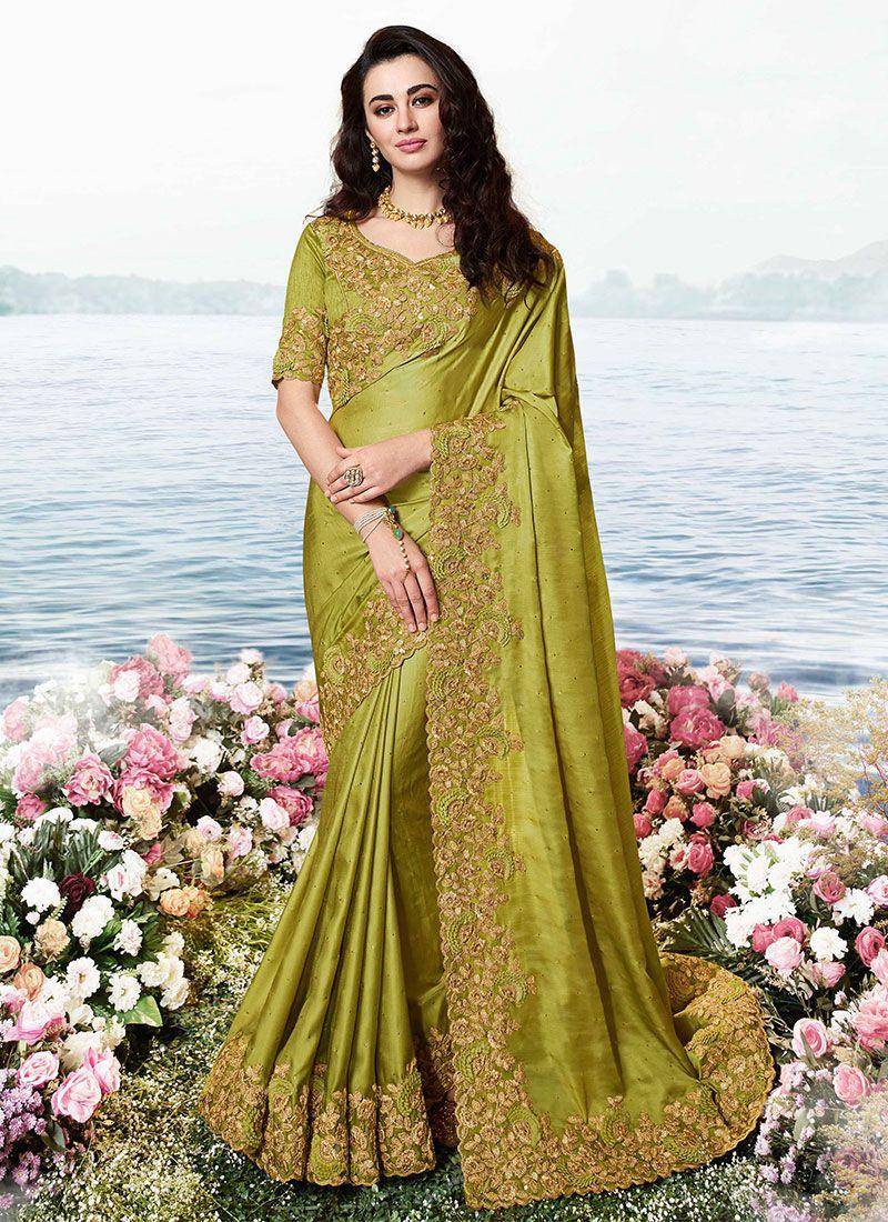 Green Art Silk Resham Traditional Designer Saree