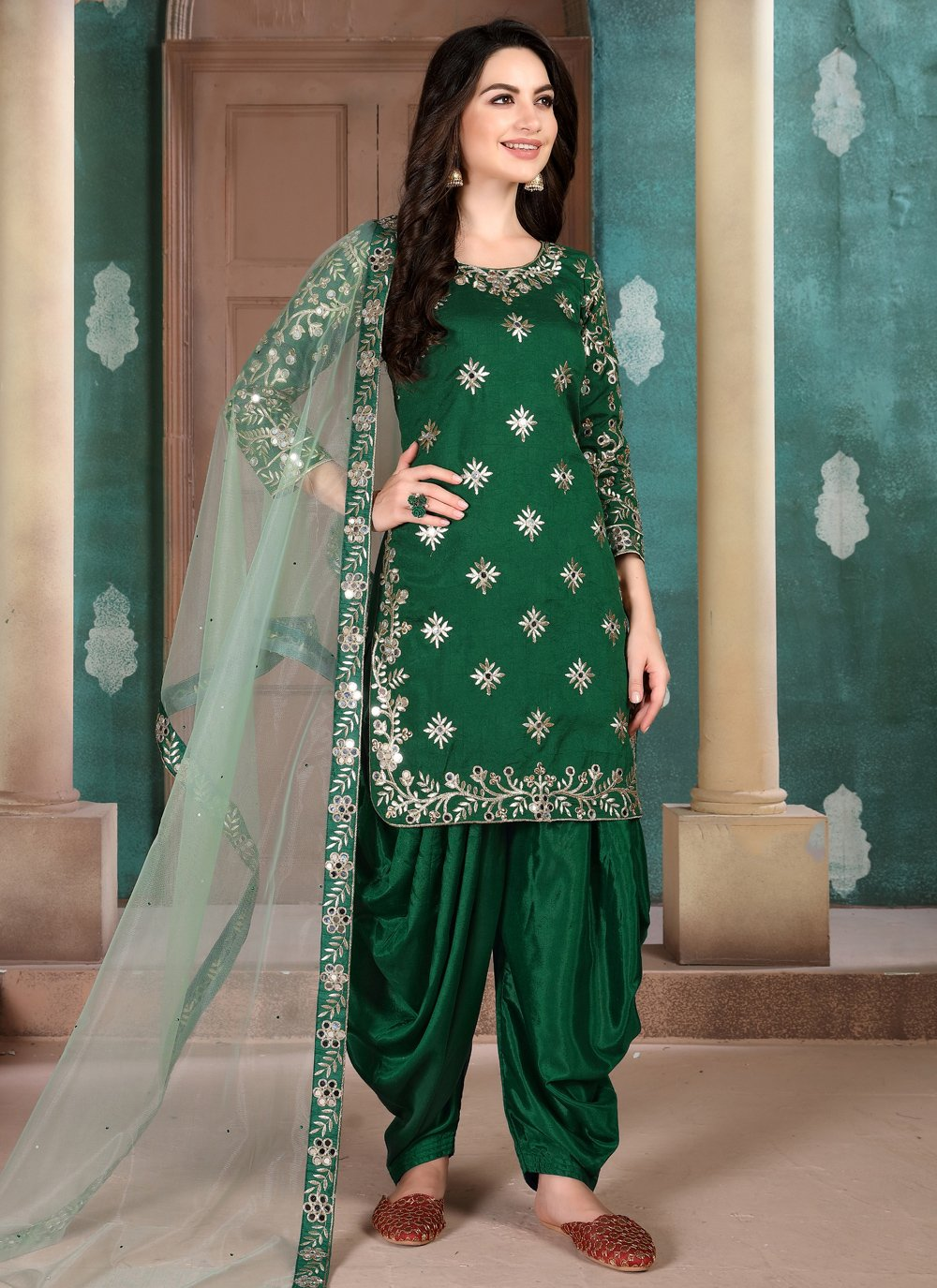 Green Art Silk Salwar Kameez