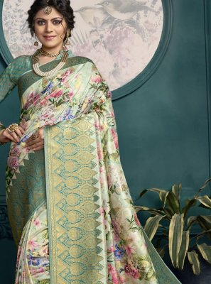 Green Art Silk Woven Classic Saree