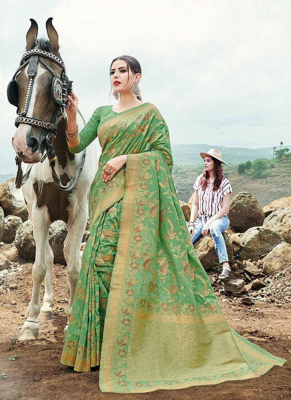 Green Banarasi Silk Contemporary Saree