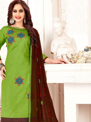 Green Banarasi Silk Embroidered Designer Suit