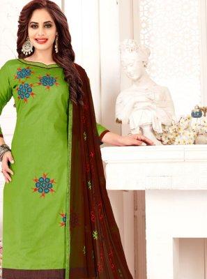 Green Banarasi Silk Embroidered Designer Suit