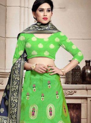 Green Banarasi Silk Festival A Line Lehenga Choli