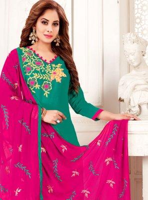 Green Banarasi Silk Salwar Kameez