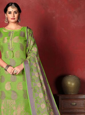 Green Banarasi Silk Salwar Suit