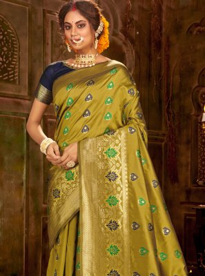 Green Banarasi Silk Weaving Traditional Saree