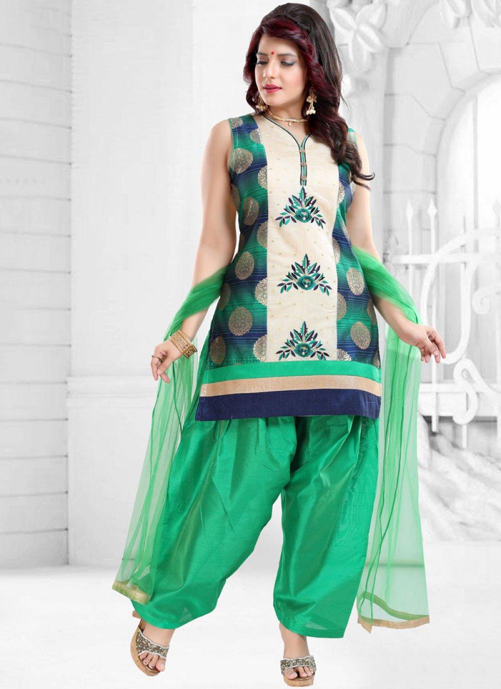 Green Banglori Silk Designer Patiala Suit