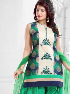 Green Banglori Silk Designer Patiala Suit
