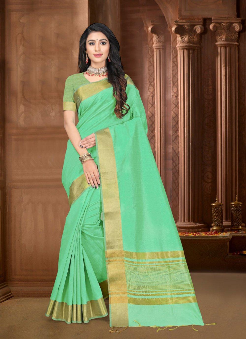 Green Border Silk Trendy Saree