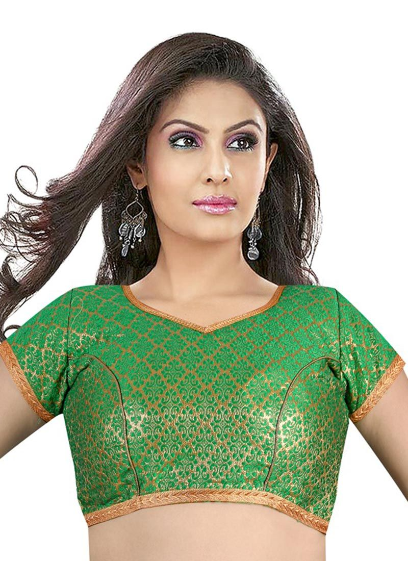 Green Brocade Weaving Designer Blouse