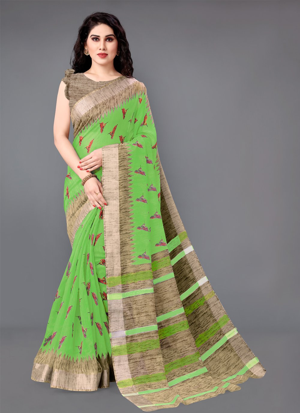 Green Casual Casual Saree