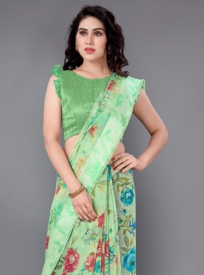 Green Casual Casual Saree