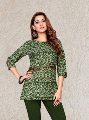 Green Casual Cotton Designer Kurti