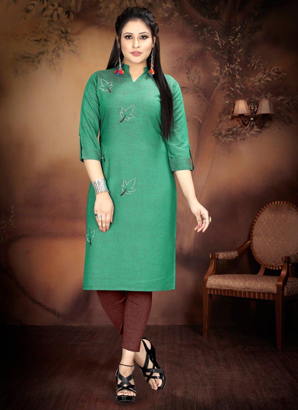 Green Casual Party Wear Kurti