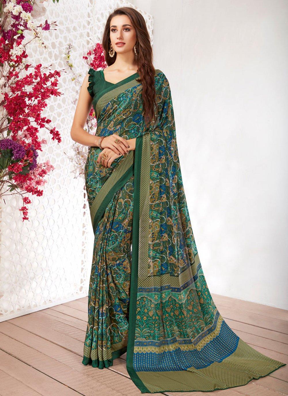 Green Casual Printed Saree