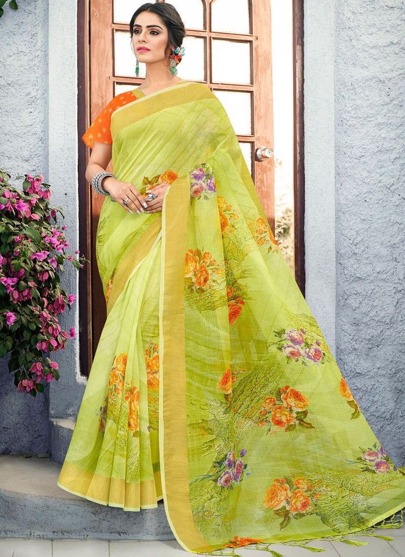 Green Casual Traditional Saree