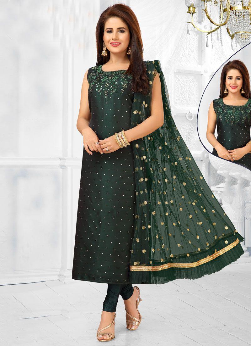 Green Ceremonial Art Silk Readymade Suit