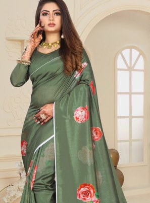 Green Ceremonial Printed Saree