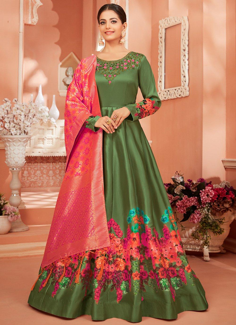 Green Ceremonial Satin Silk Anarkali Salwar Kameez