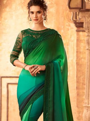 Green Ceremonial Shaded Saree
