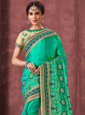 Green Ceremonial Silk Contemporary Saree