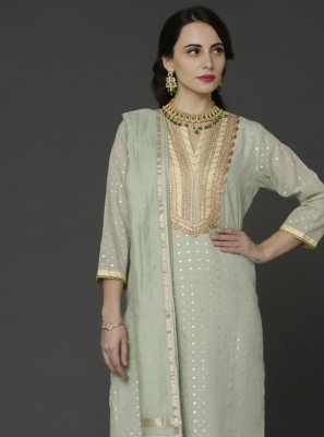 Green Chanderi Embroidered Designer Pakistani Salwar Suit