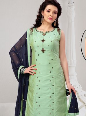 Green Chanderi Embroidered Readymade Suit