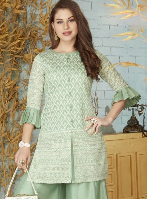 Green Chanderi Party Wear Kurti