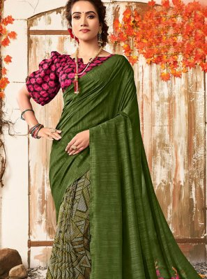 Green Chanderi Printed Designer Saree