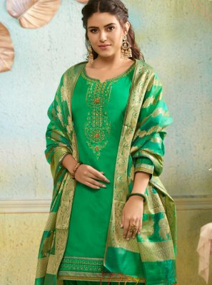 Green Chanderi Salwar Suit
