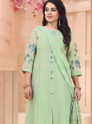 Green Chanderi Sangeet Salwar Suit