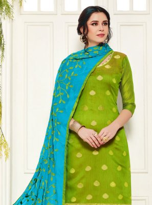 Green Color Churidar Designer Suit