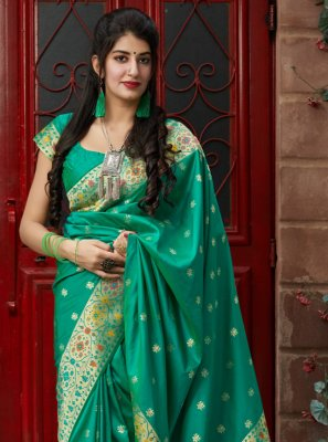 Green Color Contemporary Saree