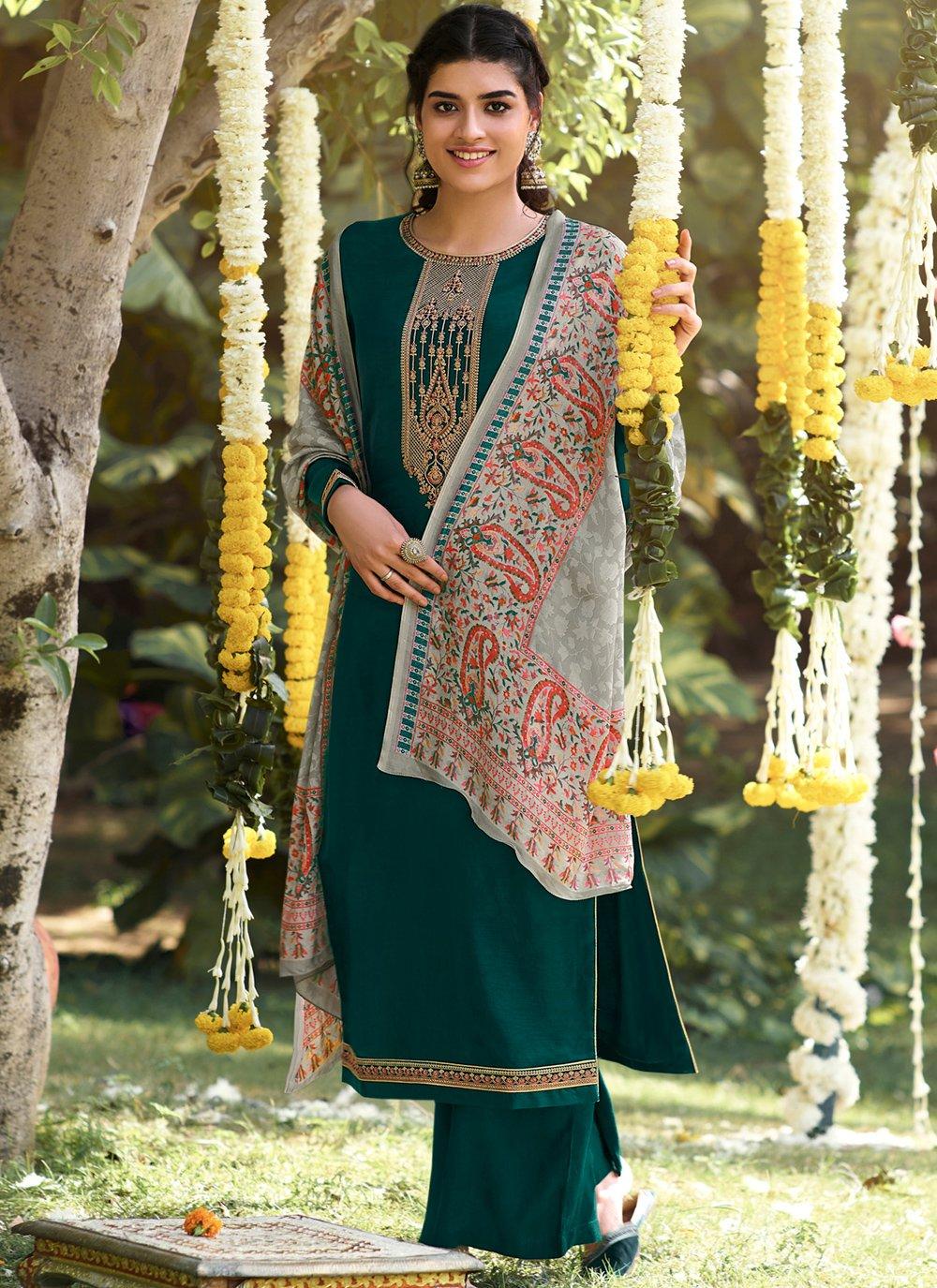 Green Color Designer Palazzo Salwar Kameez