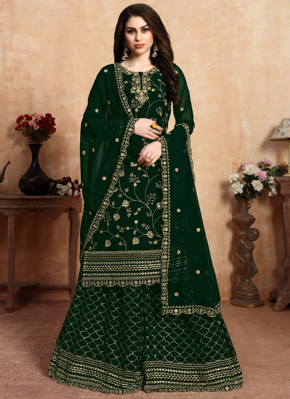 Green Color Palazzo Designer Salwar Kameez
