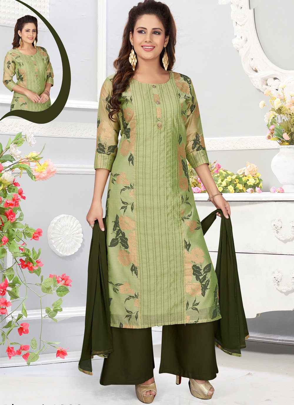 Green Color Readymade Salwar Kameez