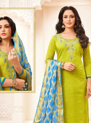 Green Color Trendy Churidar Salwar Suit
