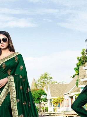 Green Color Trendy Saree
