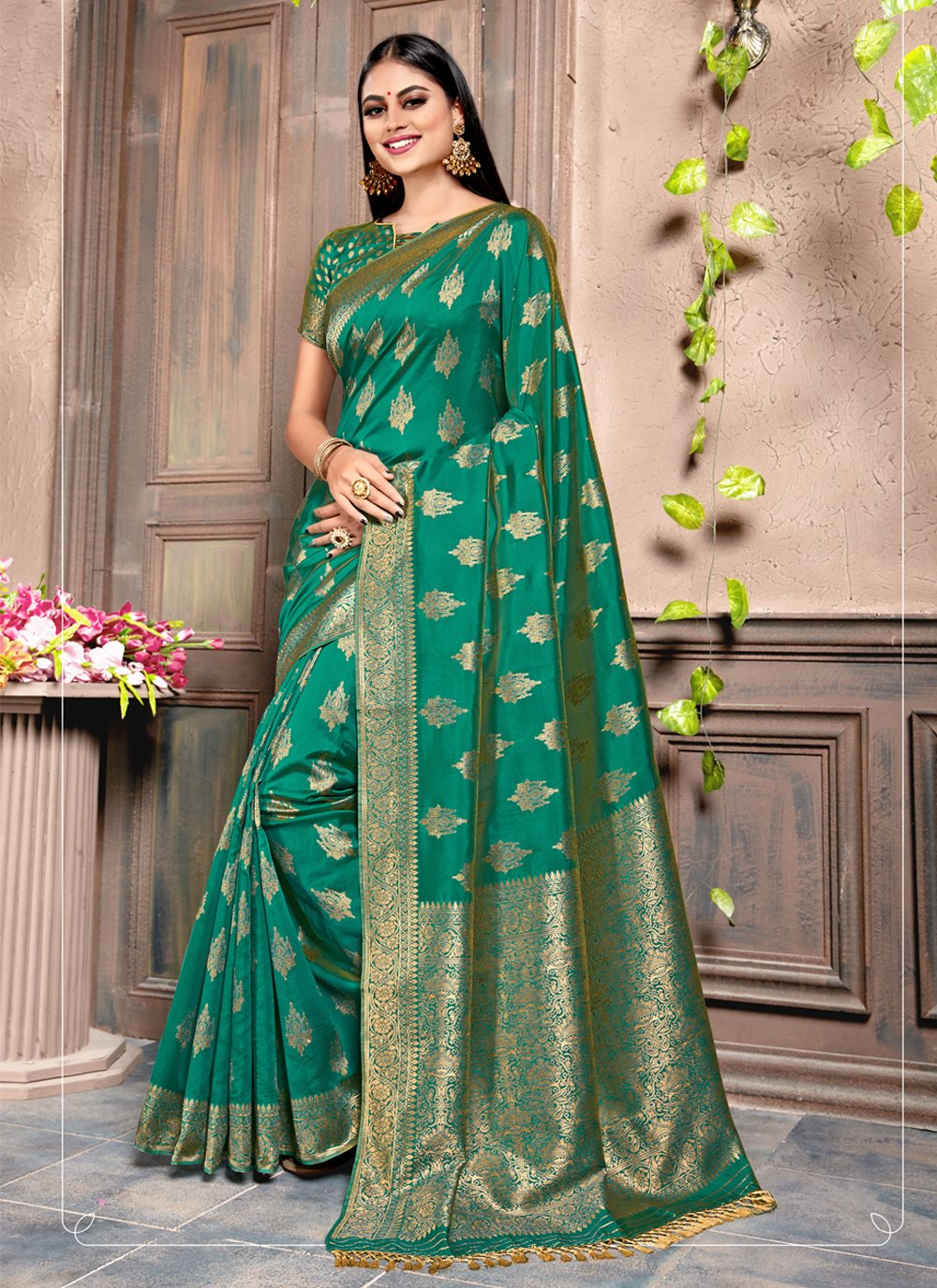 Green Contemporary Saree