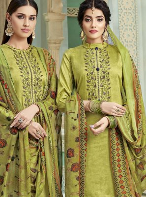 Green Cotton Bridal Patiala Suit