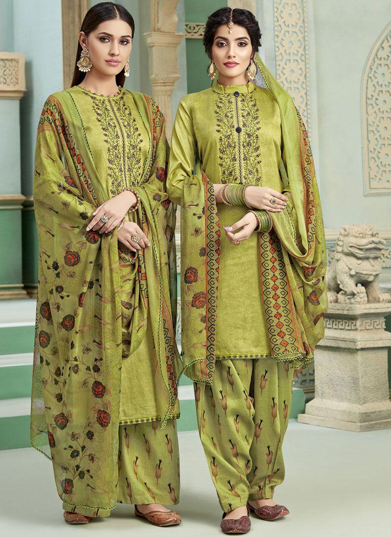Green Cotton Bridal Patiala Suit