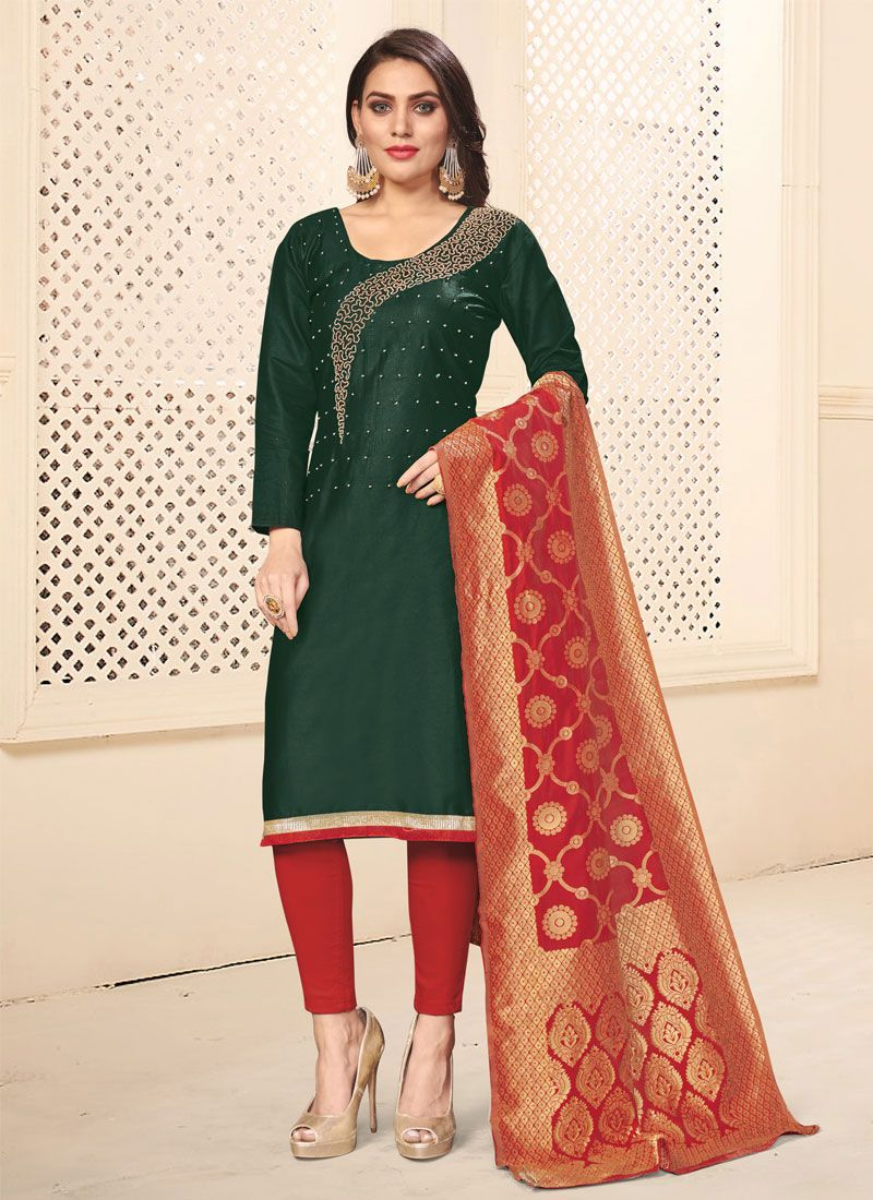 Green Cotton Casual Pant Style Suit